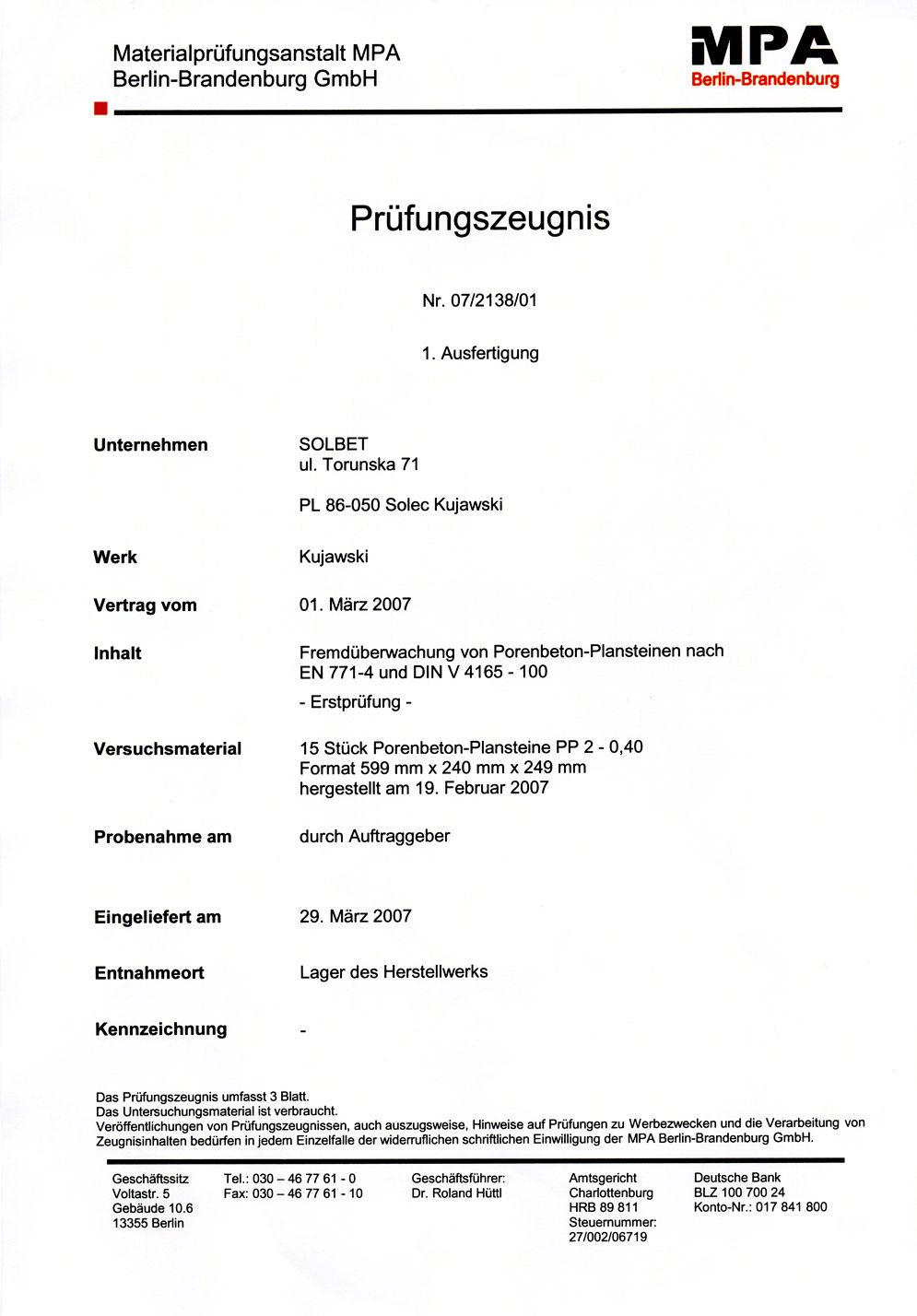 Prüfzeugnis für PP2-0,4 Steine Seite 1