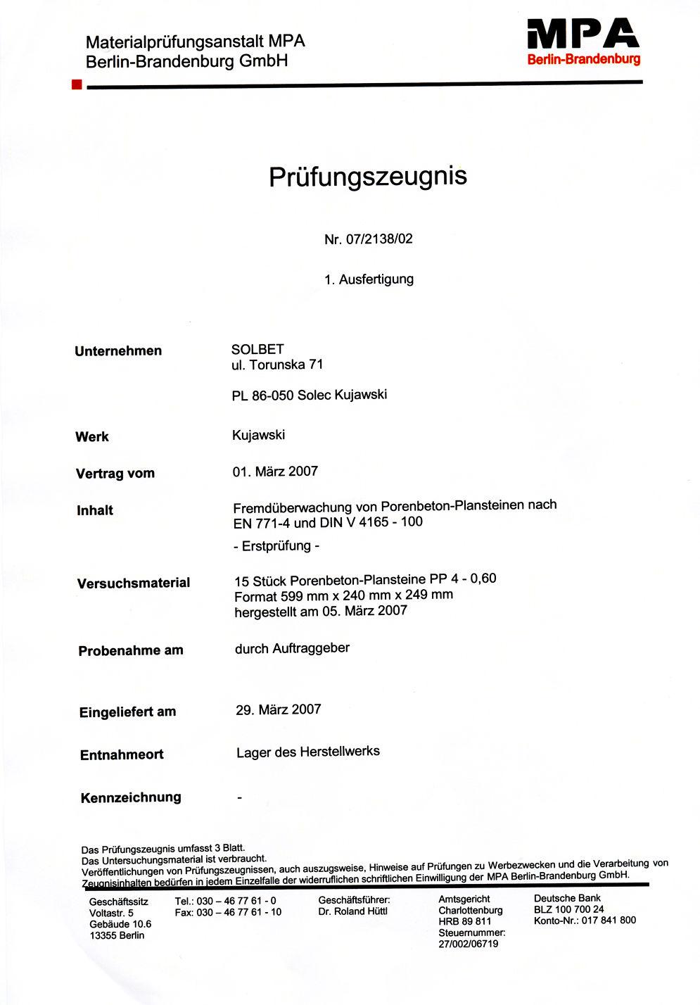 Prüfzeugnis für PP4-0,6 Steine Seite 1