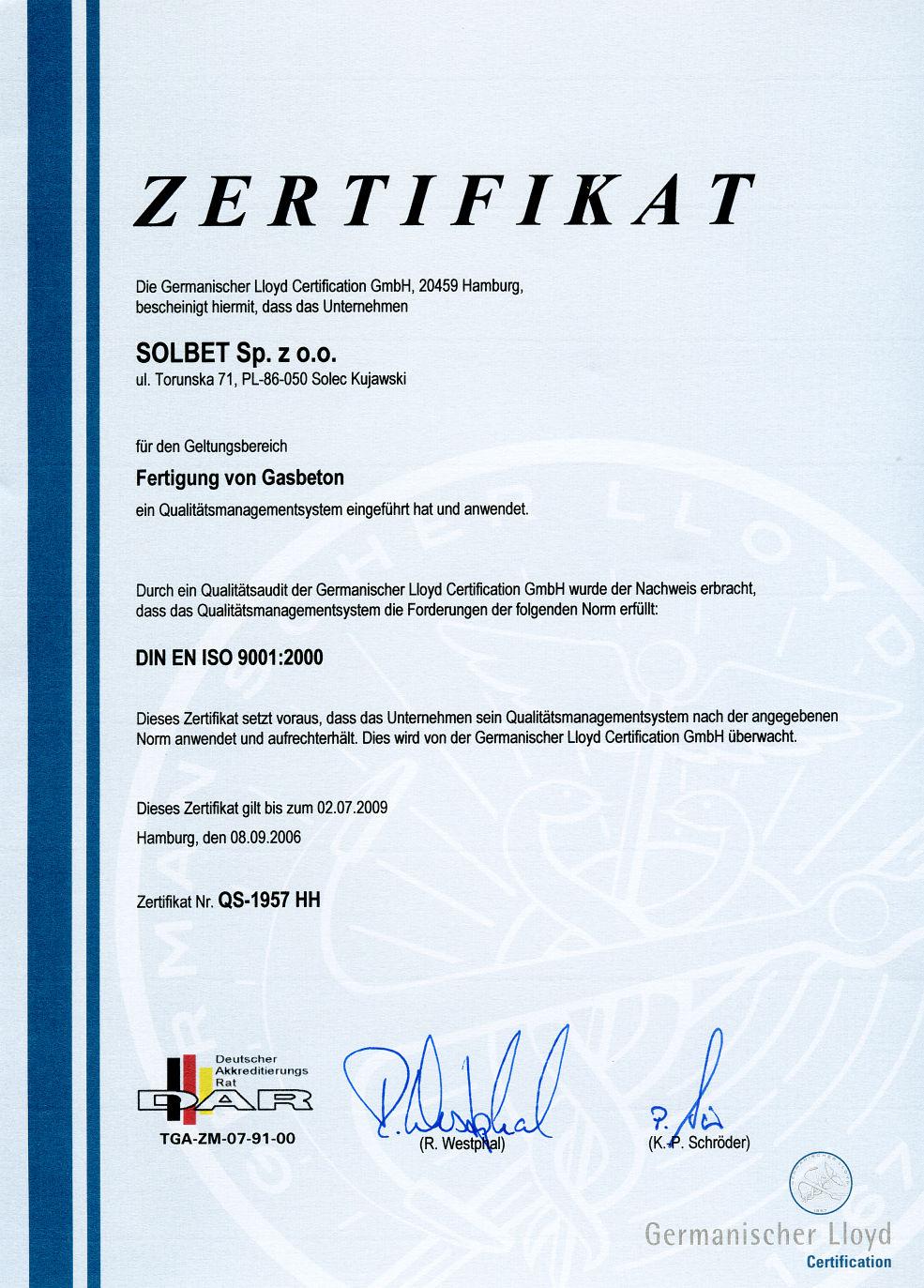 Zertifikat über das Qualitätsmanagement