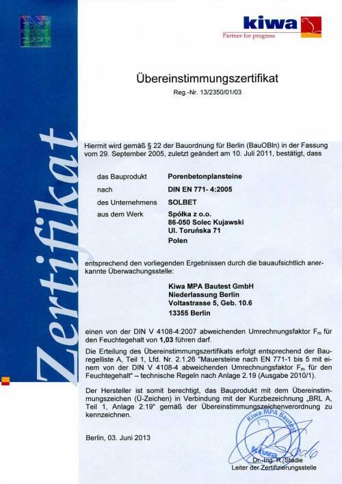 Übereinstimmungszertifikat für Porenbetonsteine mit DIN Normen