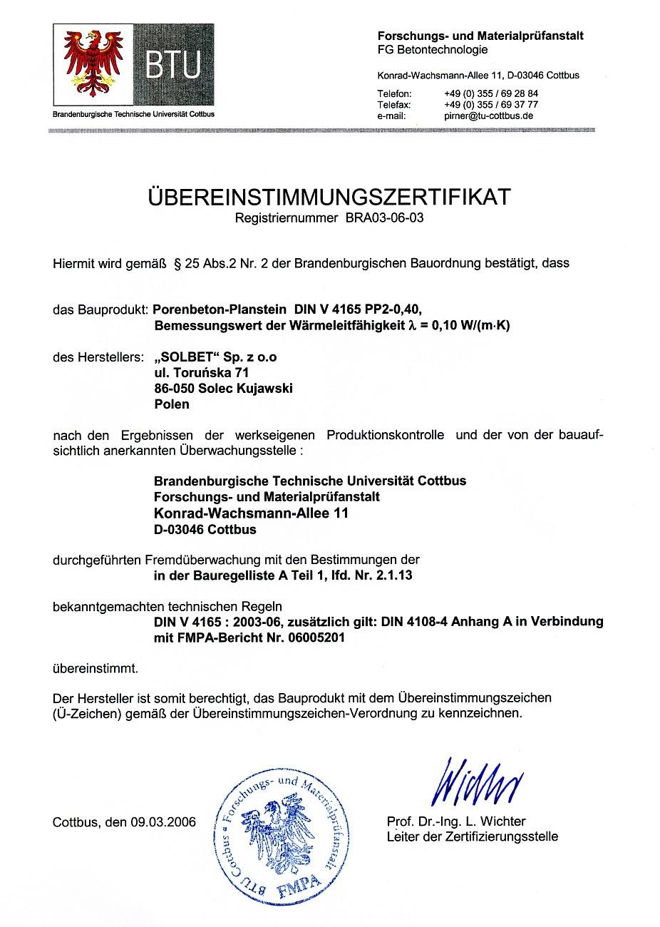 Übereinstimmungszertifikat für PP2-0,4 Gasbetonsteine
