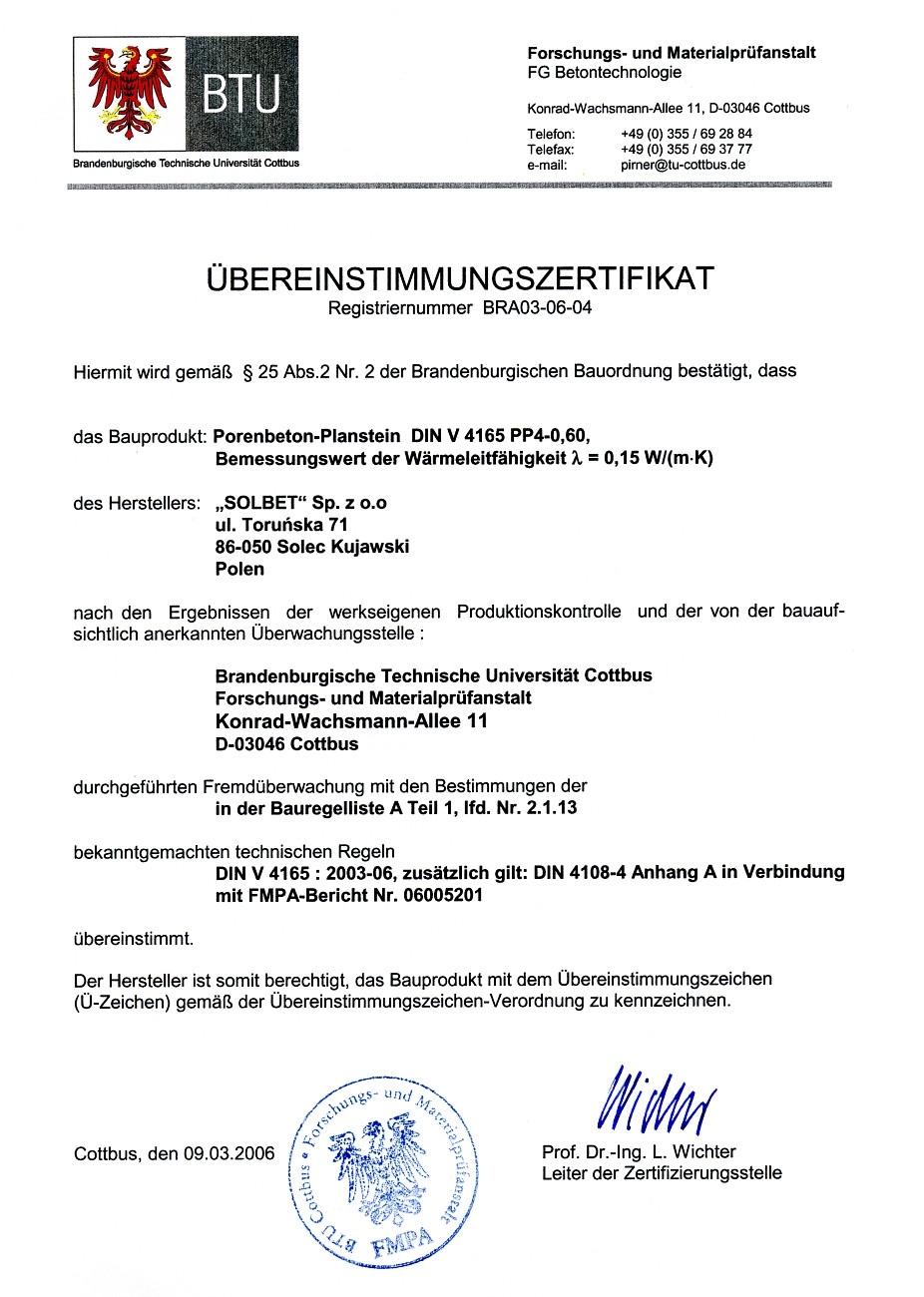 Übereinstimmungszertifikat für PP4-0,6 Gasbetonsteine