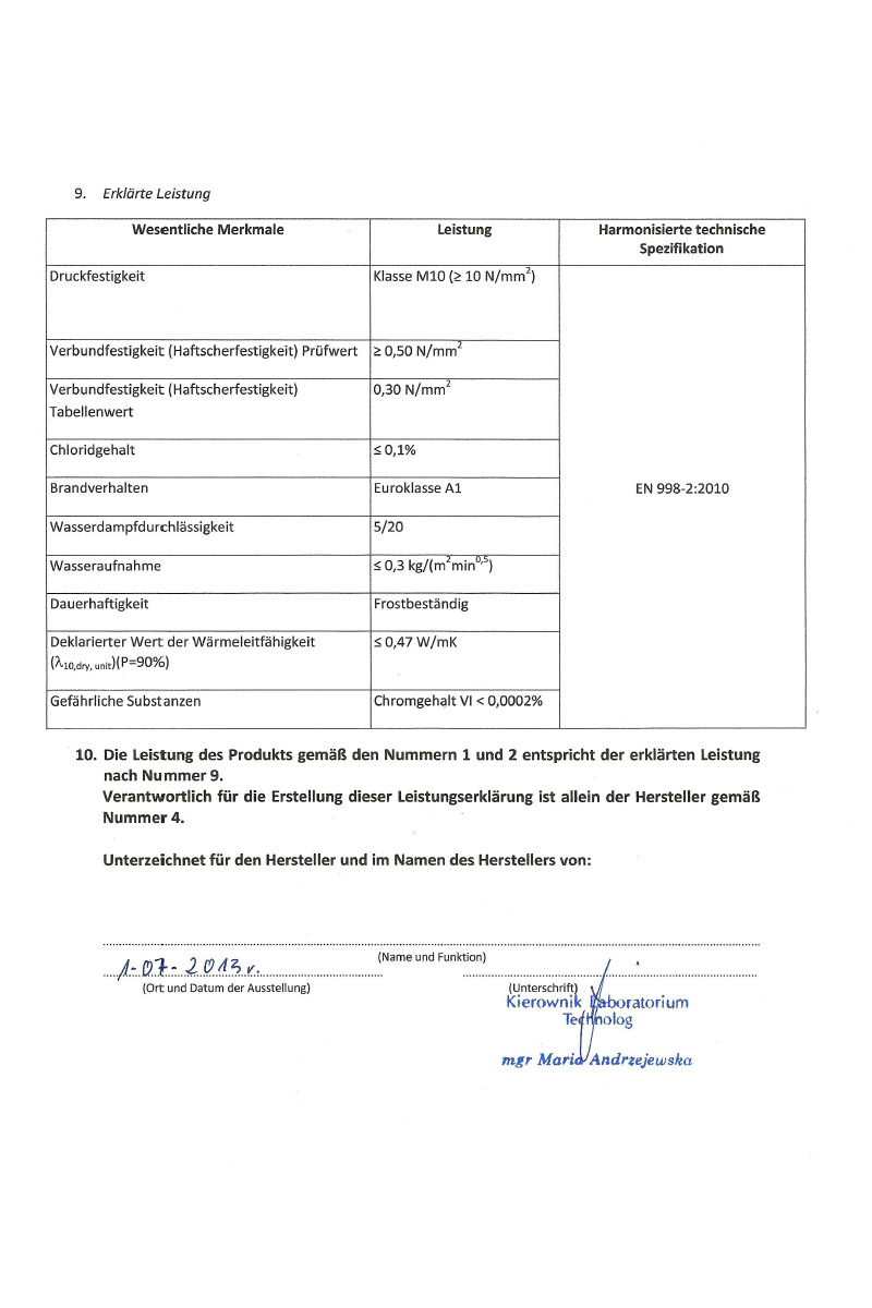 Leistungserklärung für Porenbeton Kleber Seite 2