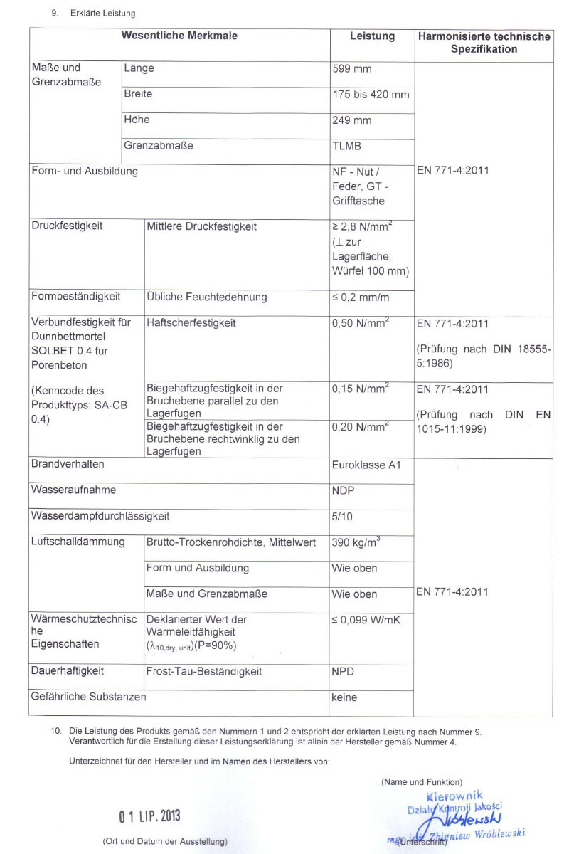 Leistungserklärung für PP2-04 Gasbetonsteine Seite 2