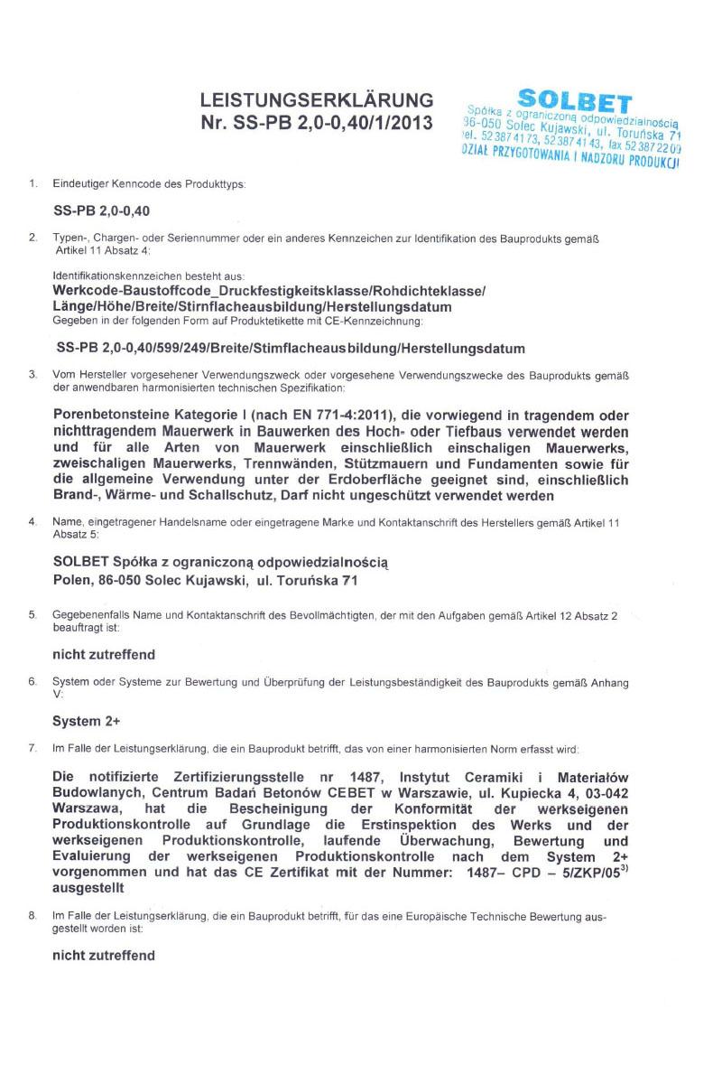 Leistungserklärung für Solbet PP2-04 Gasbeton Steine Seite 1