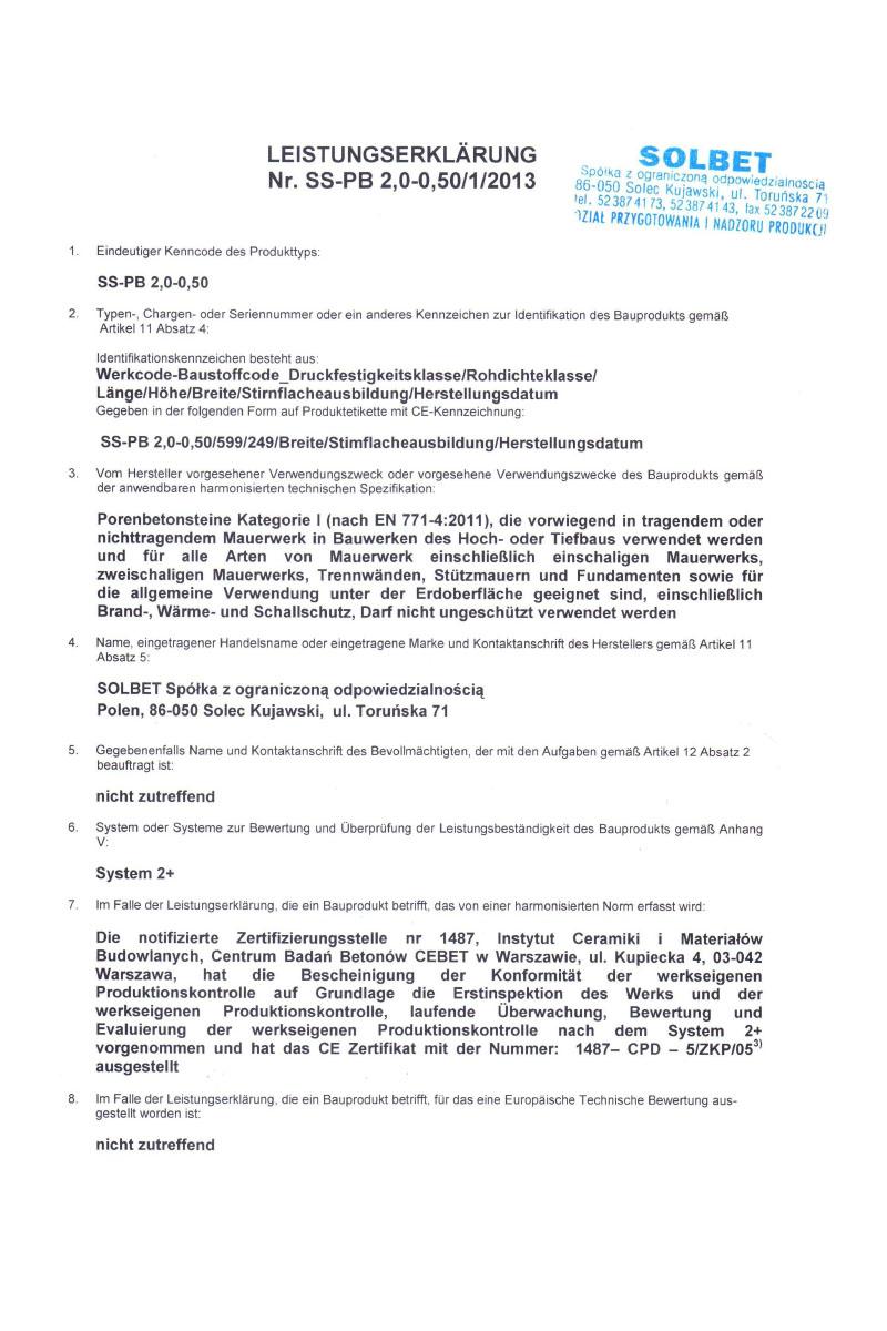 Leistungserklärung für PP2-05 Porenbeton Steine Seite 1