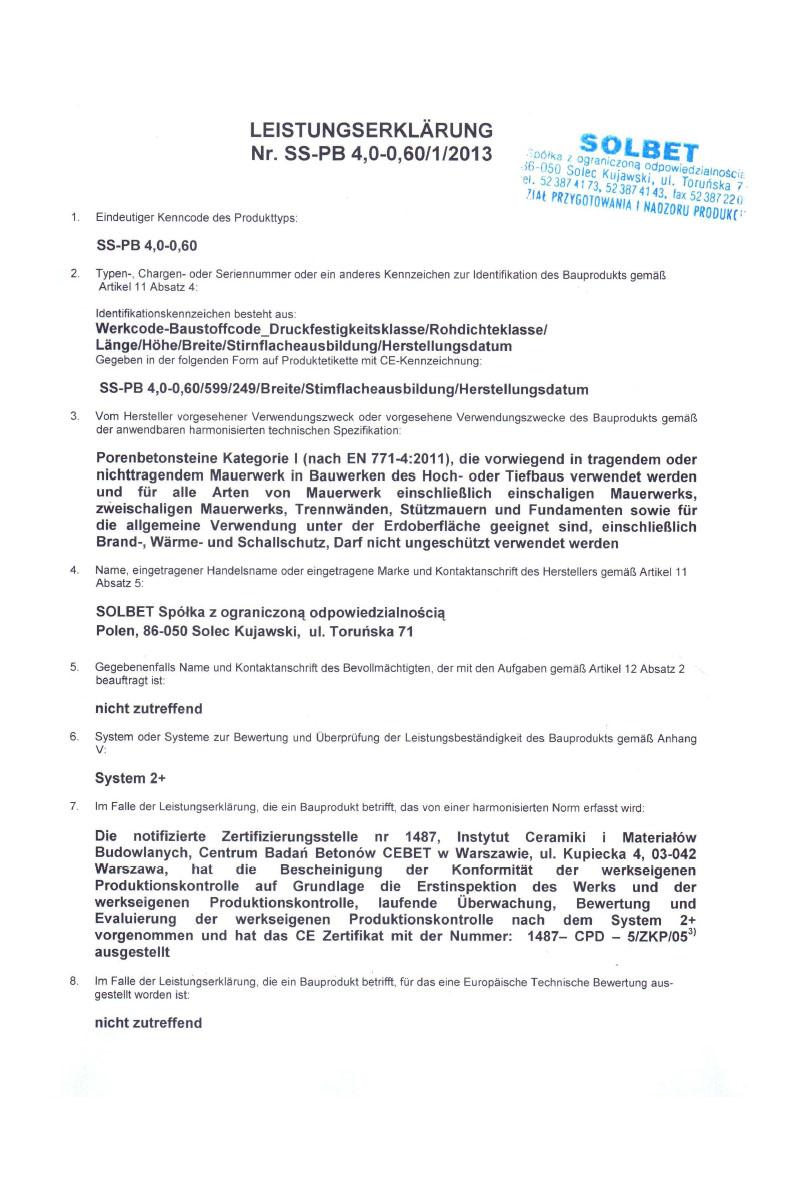 Leistungserklärung für PP4-0,6 Gasbeton Baustoffe Seite 1
